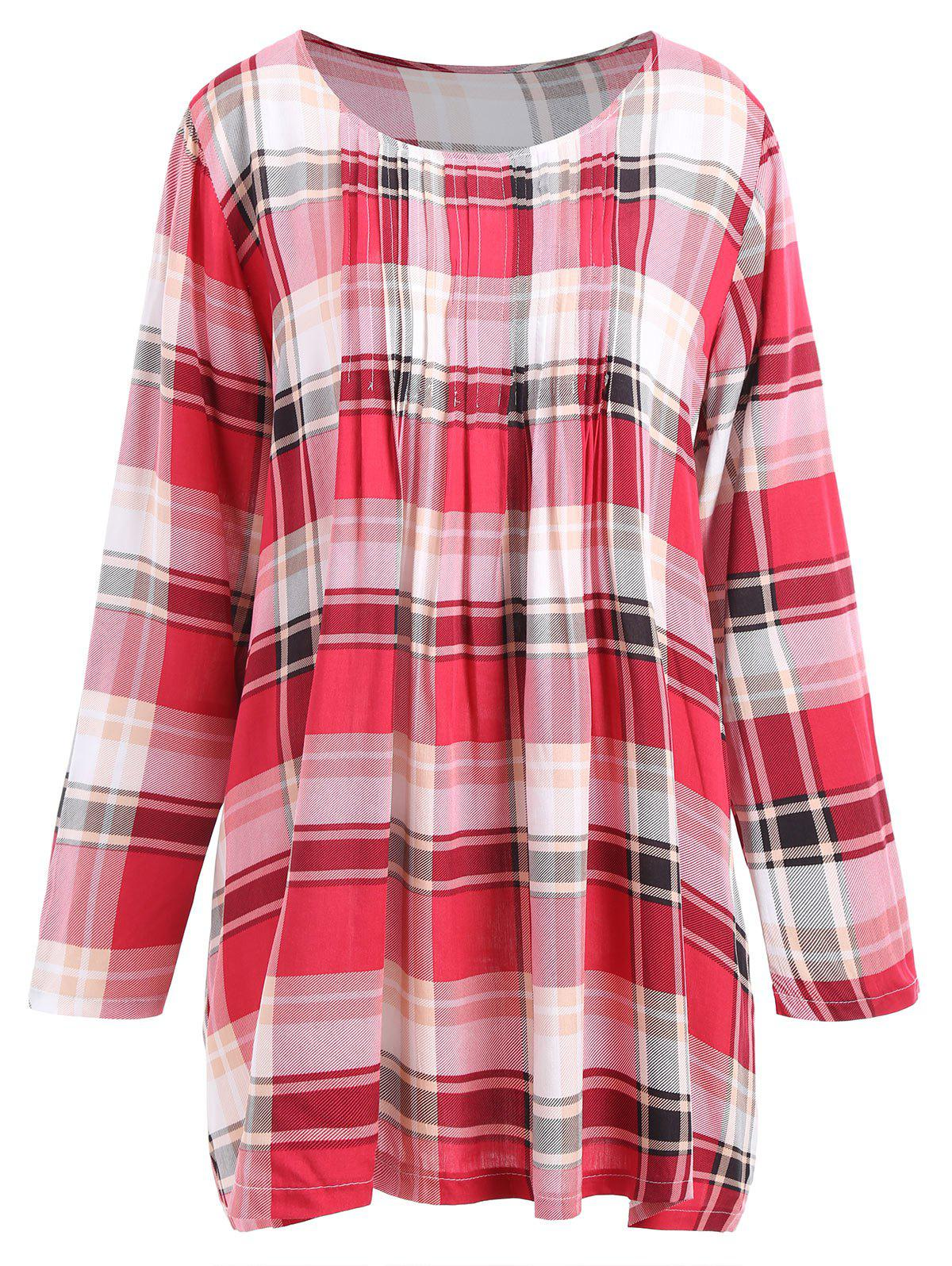 Plus Size Pleated Checked BlouseWOMEN<br><br>Size: 2XL; Color: CHECKED; Material: Polyester; Shirt Length: Long; Sleeve Length: Full; Collar: Round Neck; Style: Casual; Season: Fall; Embellishment: Pleated; Pattern Type: Plaid; Weight: 0.2200kg; Package Contents: 1 x Blouse;