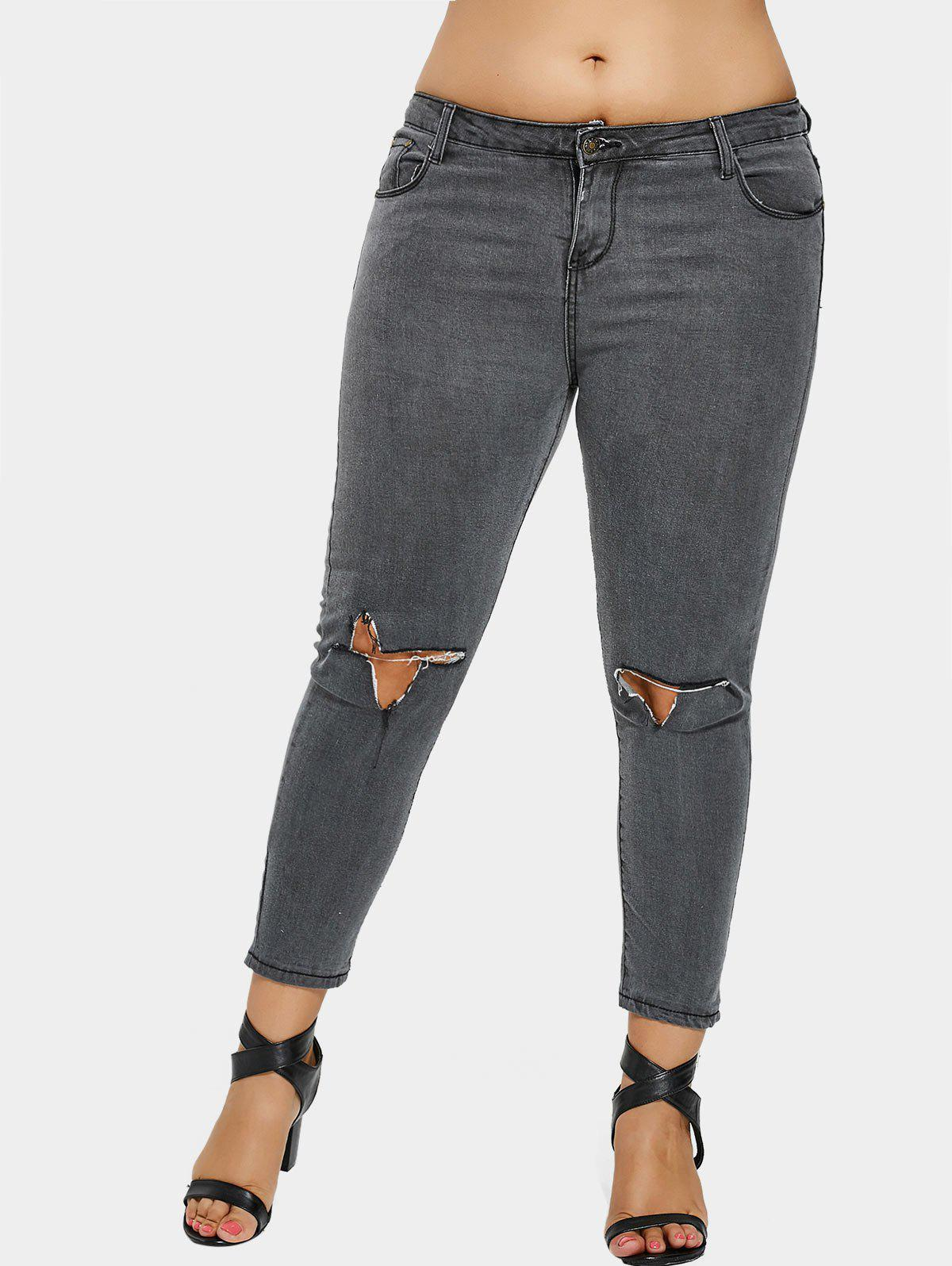 Outfit Zip Fly Plus Size Ripped Jeans