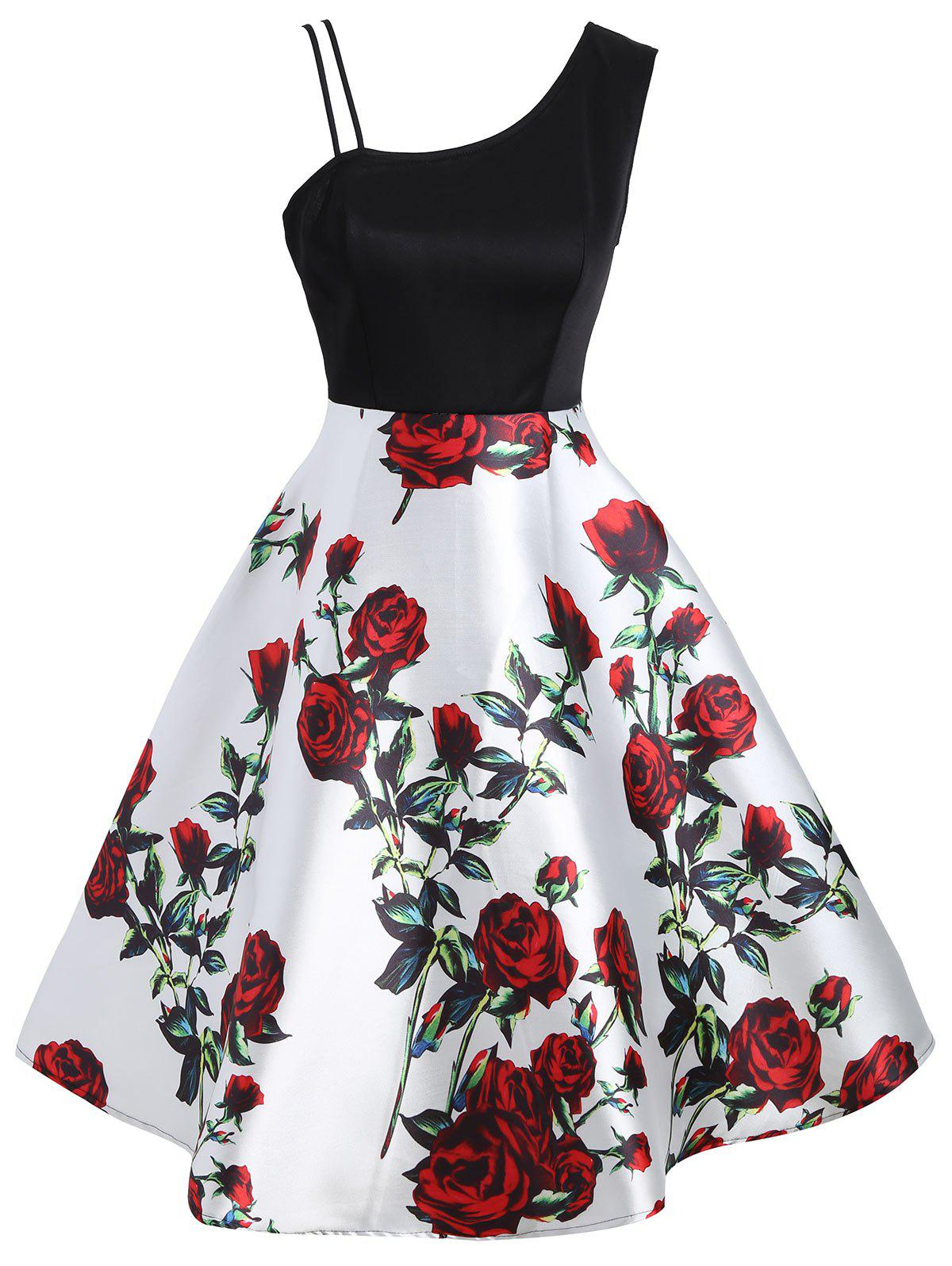 Hot A Line Skew Neck Floral Print Dress