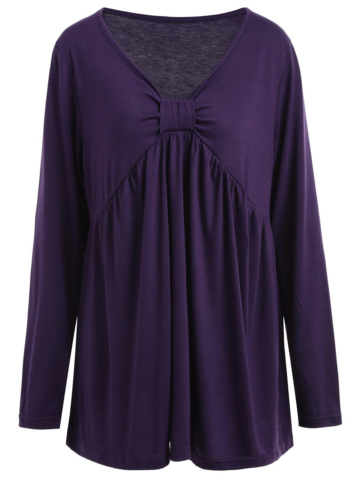 Plus Size Empire Waist Bowknot TeeWOMEN<br><br>Size: 5XL; Color: DEEP PURPLE; Material: Cotton,Polyester; Shirt Length: Regular; Sleeve Length: Full; Collar: V-Neck; Style: Casual; Season: Fall; Embellishment: Bowknot; Pattern Type: Solid; Weight: 0.2850kg; Package Contents: 1 x T-shirt;