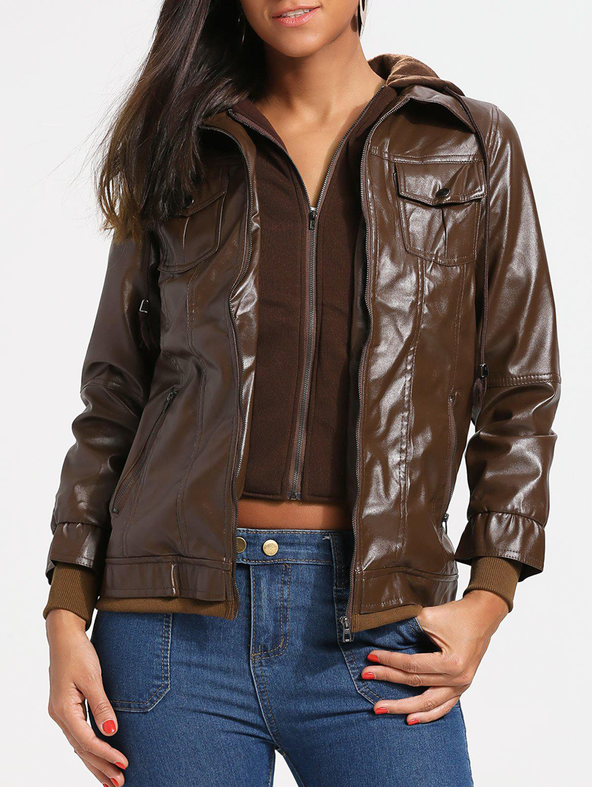 Shop Flap Pockets Hooded Faux Leather Jacket