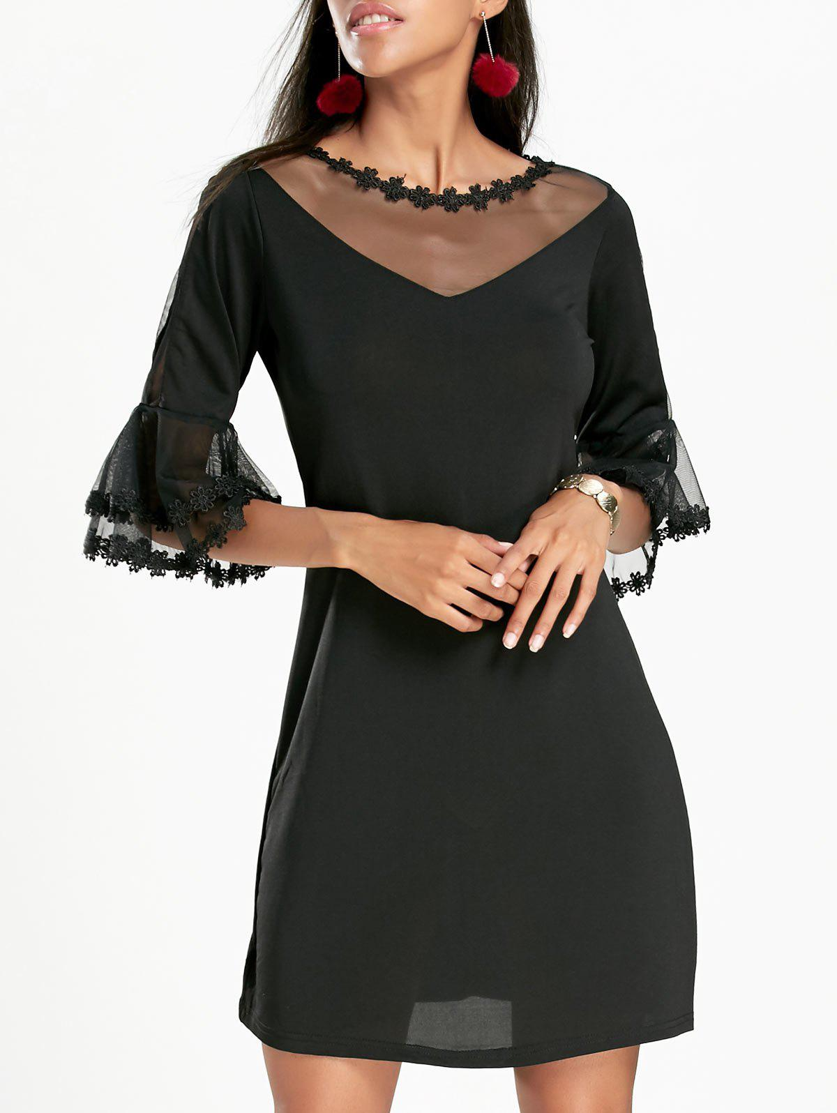 Bell Sleeve Sheer Mesh Insert Mini DressWOMEN<br><br>Size: XL; Color: BLACK; Style: Brief; Material: Cotton,Polyester; Silhouette: Shift; Dresses Length: Mini; Neckline: Round Collar; Sleeve Length: 3/4 Length Sleeves; Pattern Type: Solid Color; With Belt: No; Season: Fall,Spring; Weight: 0.2600kg; Package Contents: 1 x Dress; Occasion: Casual;