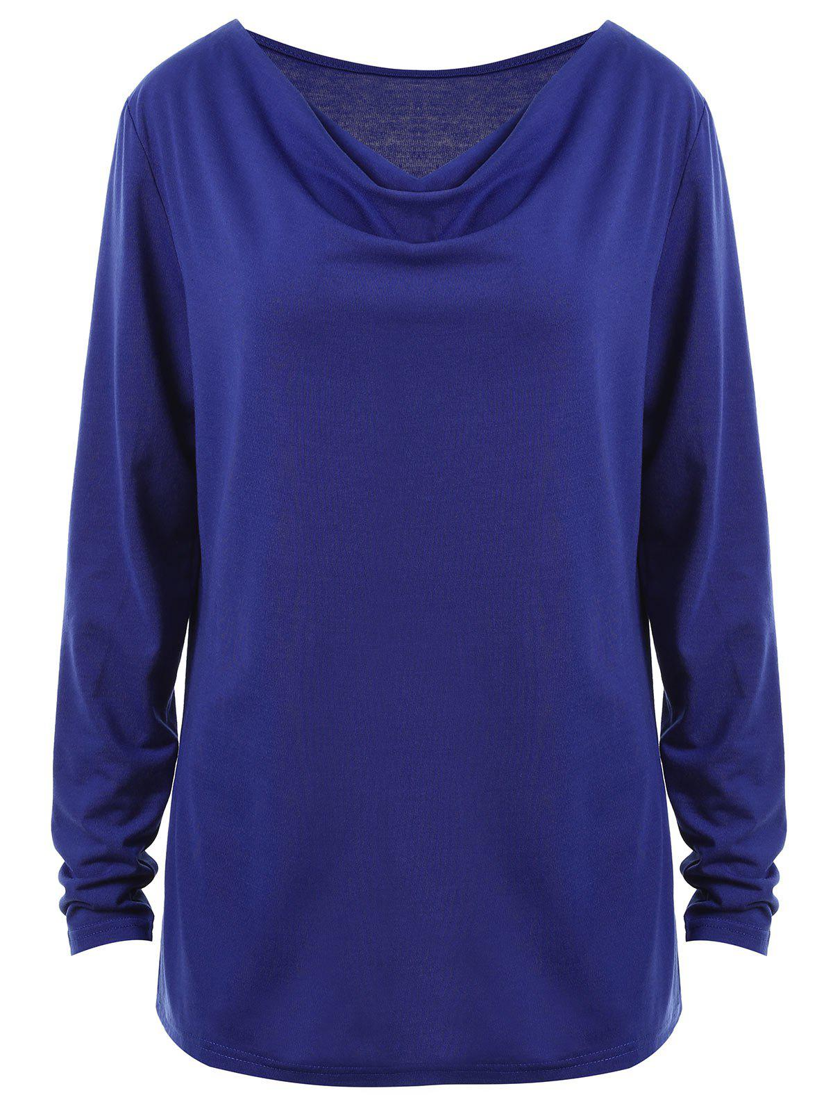 Plus Size Long Sleeve Cowl Neck TeeWOMEN<br><br>Size: 3XL; Color: BLUE; Material: Cotton,Polyester; Shirt Length: Regular; Sleeve Length: Full; Collar: Cowl Neck; Style: Casual; Season: Fall; Pattern Type: Solid; Weight: 0.2800kg; Package Contents: 1 x T-shirt;