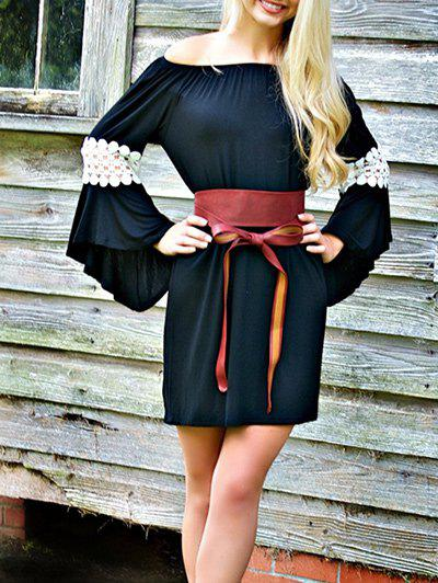 Sale Bell Sleeve Off The Shoulder Shift Dress
