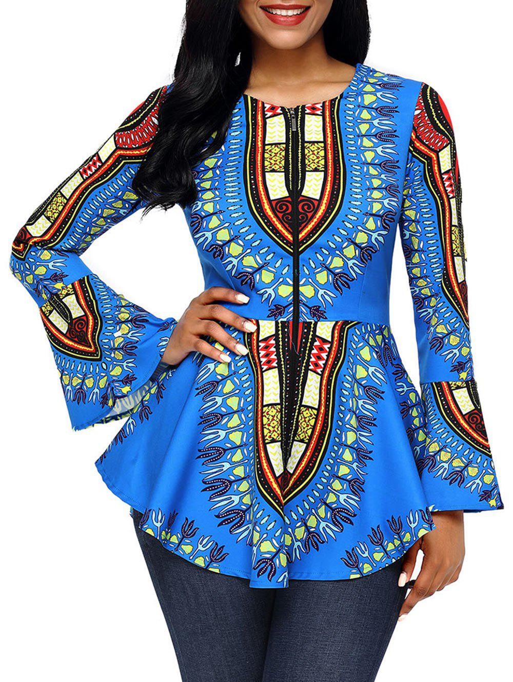 Tribal Print Flare Sleeve Peplum TopWOMEN<br><br>Size: 2XL; Color: BLUE; Material: Polyester,Spandex; Shirt Length: Regular; Sleeve Length: Full; Collar: Round Neck; Style: Fashion; Sleeve Type: Flare Sleeve; Pattern Type: Print; Season: Fall,Spring; Weight: 0.3500kg; Package Contents: 1 x Top;