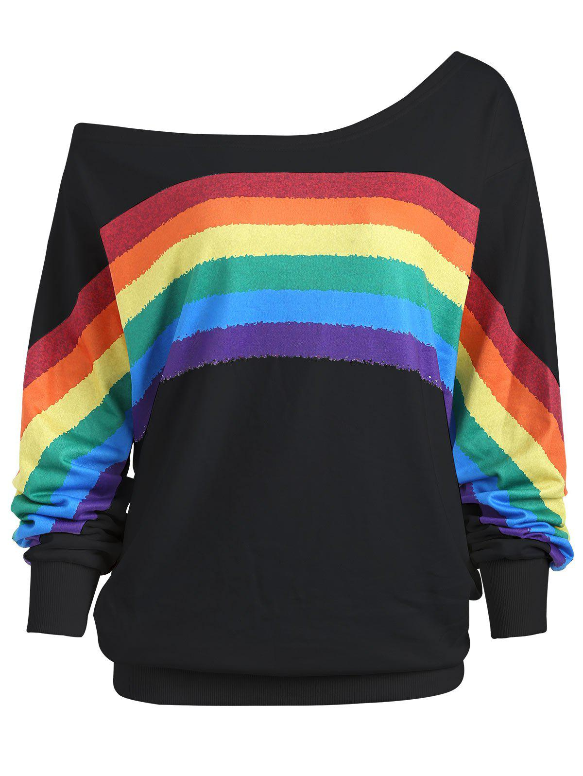 Print Rainbow Plus Size One Shoulder TopWOMEN<br><br>Size: 4XL; Color: BLACK; Material: Polyester; Shirt Length: Regular; Sleeve Length: Full; Style: Fashion; Pattern Style: Print; Season: Fall,Spring; Weight: 0.4200kg; Package Contents: 1 x Top;
