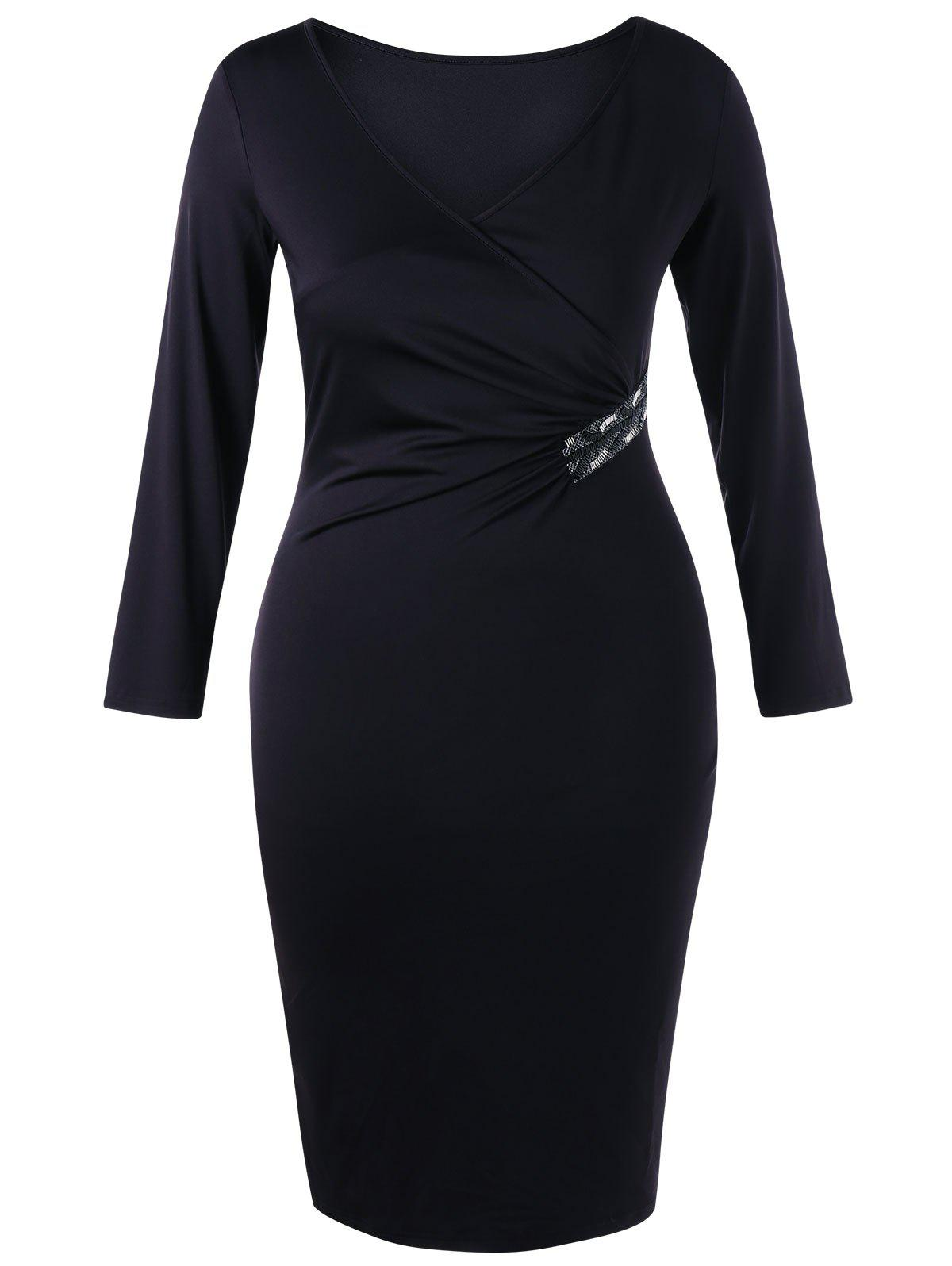 Plus Size V Neck Sheath Surplice DressWOMEN<br><br>Size: 4XL; Color: BLACK; Style: Brief; Material: Polyester,Spandex; Silhouette: Bodycon; Dresses Length: Knee-Length; Neckline: V-Neck; Sleeve Length: Long Sleeves; Pattern Type: Solid; With Belt: No; Season: Fall,Spring; Weight: 0.3750kg; Package Contents: 1 x Dress;