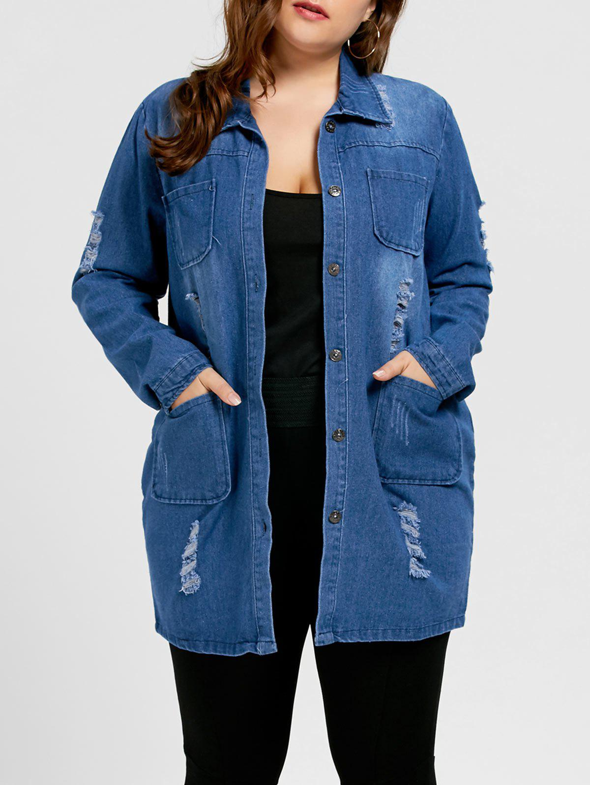 Store Plus Size Ripped Denim Coat