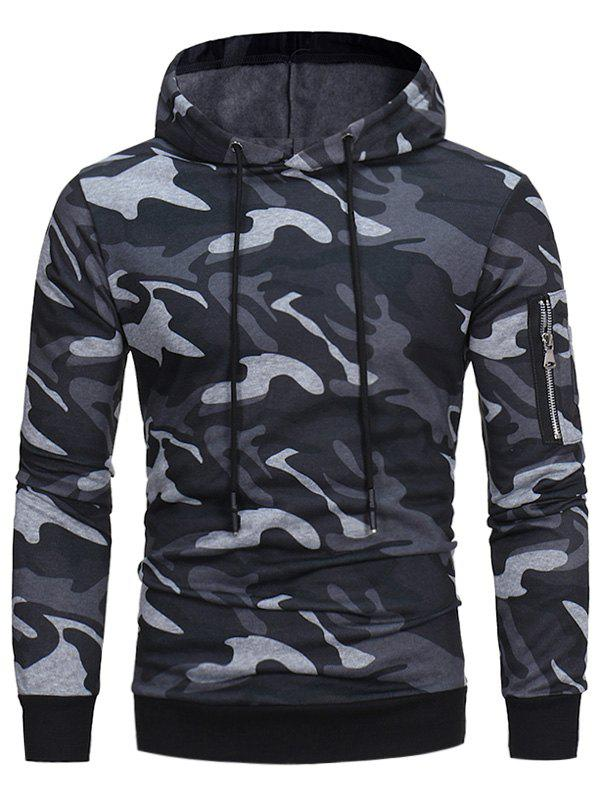 Camouflage Fleece Pullover HoodieMEN<br><br>Size: L; Color: GRAY; Material: Polyester; Shirt Length: Regular; Sleeve Length: Full; Style: Fashion; Weight: 0.4600kg; Package Contents: 1 x Hoodie;