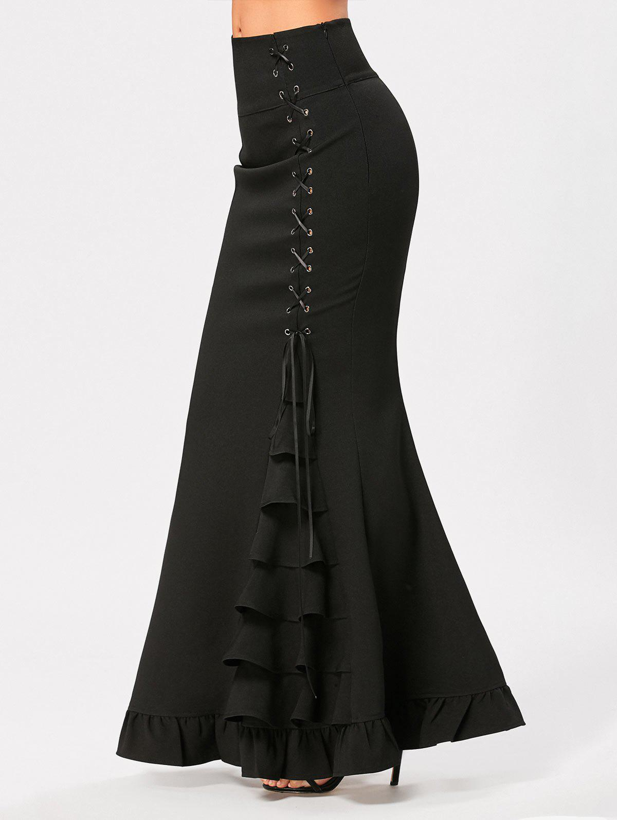 Ruffles Criss Cross Side Maxi Mermaid SkirtWOMEN<br><br>Size: 2XL; Color: BLACK; Material: Polyester; Length: Floor-Length; Silhouette: Trumpet/Mermaid; Pattern Type: Solid; Embellishment: Criss-Cross,Ruffles; Season: Fall,Spring; With Belt: No; Weight: 0.5800kg; Package Contents: 1 x Skirt;