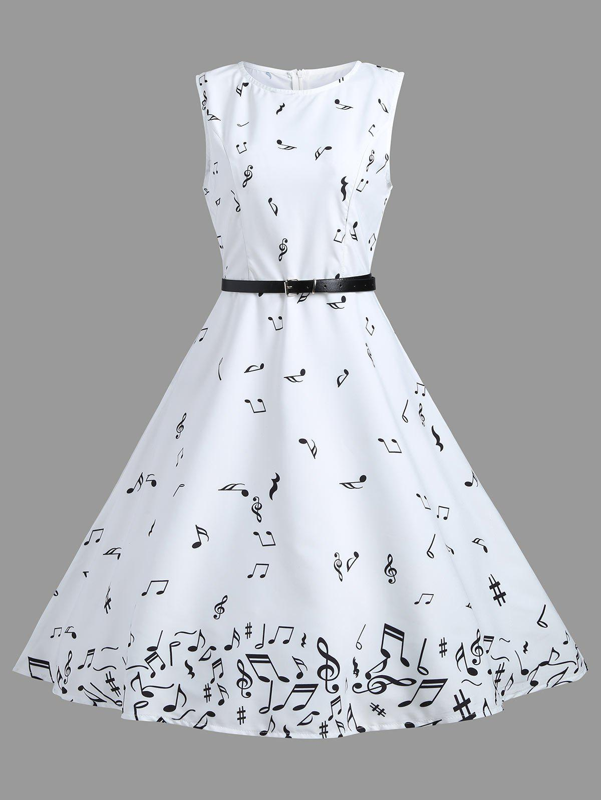 Vintage A Line Notes Print DressWOMEN<br><br>Size: S; Color: WHITE; Style: Vintage; Material: Polyester; Silhouette: A-Line; Dresses Length: Knee-Length; Neckline: Round Collar; Sleeve Length: Sleeveless; Pattern Type: Print; With Belt: Yes; Season: Spring,Summer; Weight: 0.2700kg; Package Contents: 1 x Dress;