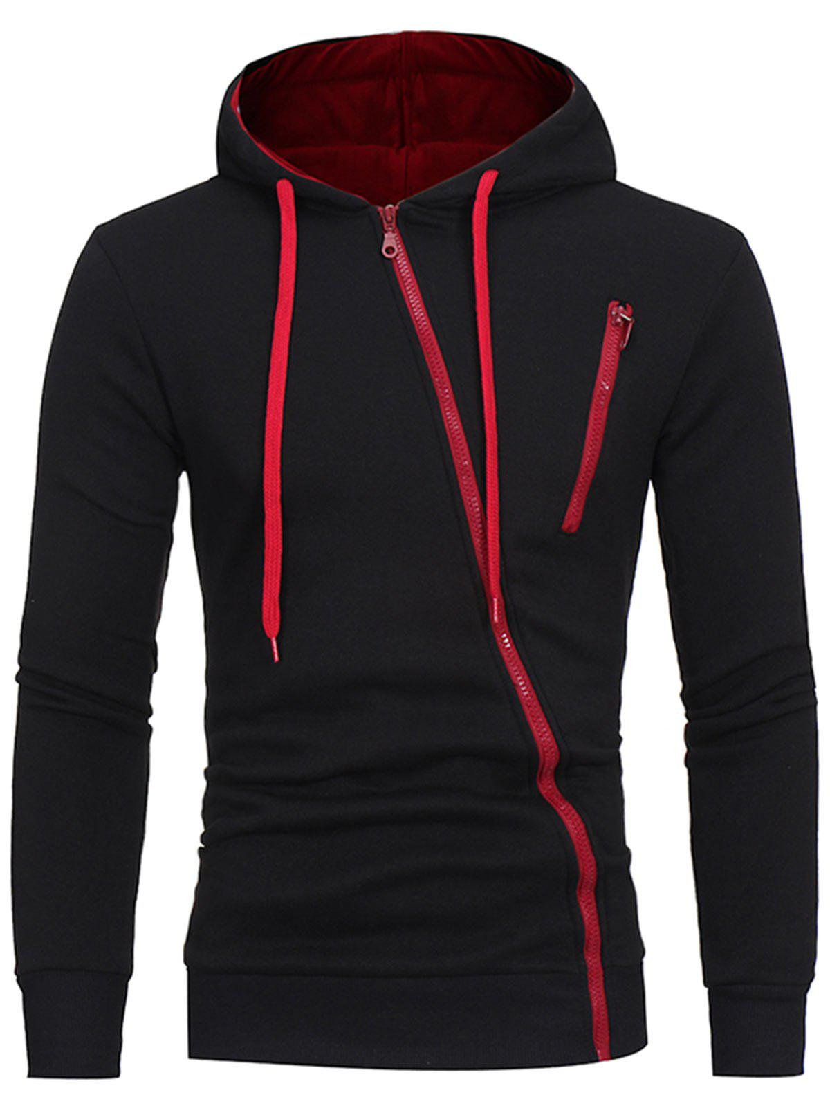 Color Block Oblique Zippers Fleece HoodieMEN<br><br>Size: M; Color: BLACK; Material: Polyester; Shirt Length: Regular; Sleeve Length: Full; Style: Fashion; Weight: 0.4500kg; Package Contents: 1 x Hoodie;