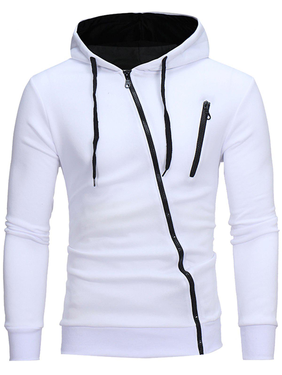 Hot Color Block Oblique Zippers Fleece Hoodie