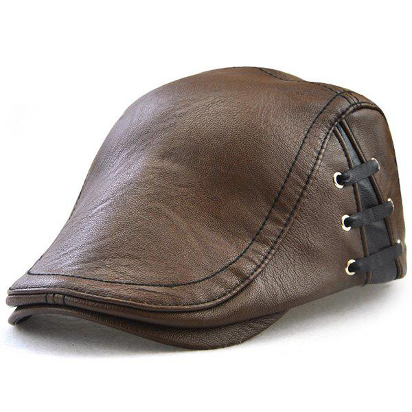 Faux Leather Lace Up Embellished Flat HatACCESSORIES<br><br>Color: LIGHT COFFEE; Hat Type: Newsboy Caps; Group: Adult; Gender: For Men; Style: Fashion; Pattern Type: Solid; Material: Faux Leather; Weight: 0.2000kg; Package Contents: 1 x Hat;
