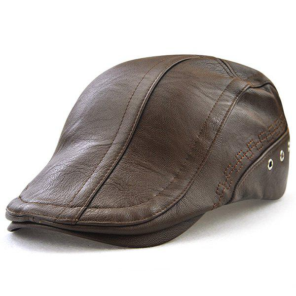 Faux Leather Rivet Hole Embellished Newsboy HatACCESSORIES<br><br>Color: LIGHT COFFEE; Hat Type: Newsboy Caps; Group: Adult; Gender: For Men; Style: Fashion; Pattern Type: Solid; Material: Faux Leather; Weight: 0.2000kg; Package Contents: 1 x Hat;