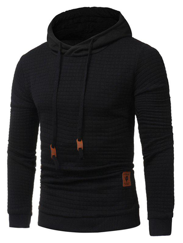 Applique Drawstring Checked Embossing HoodieMEN<br><br>Size: XL; Color: BLACK; Material: Polyester; Shirt Length: Regular; Sleeve Length: Full; Style: Fashion; Weight: 0.6200kg; Package Contents: 1 x Hoodie;