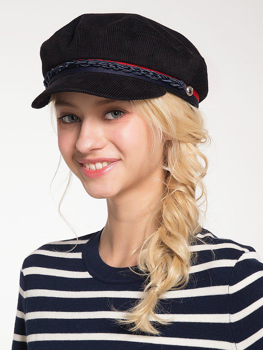 Hot Pinstripe Beret Hat with Woven Rope