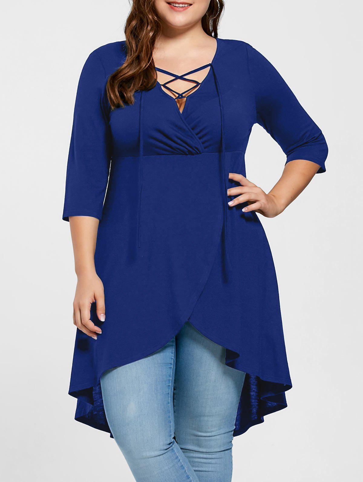 Outfits Plus Size Overlap Lace Up Top