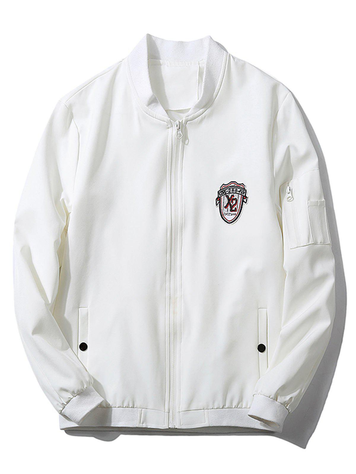 Shops Badge Zip Pocket Bomber Jacket
