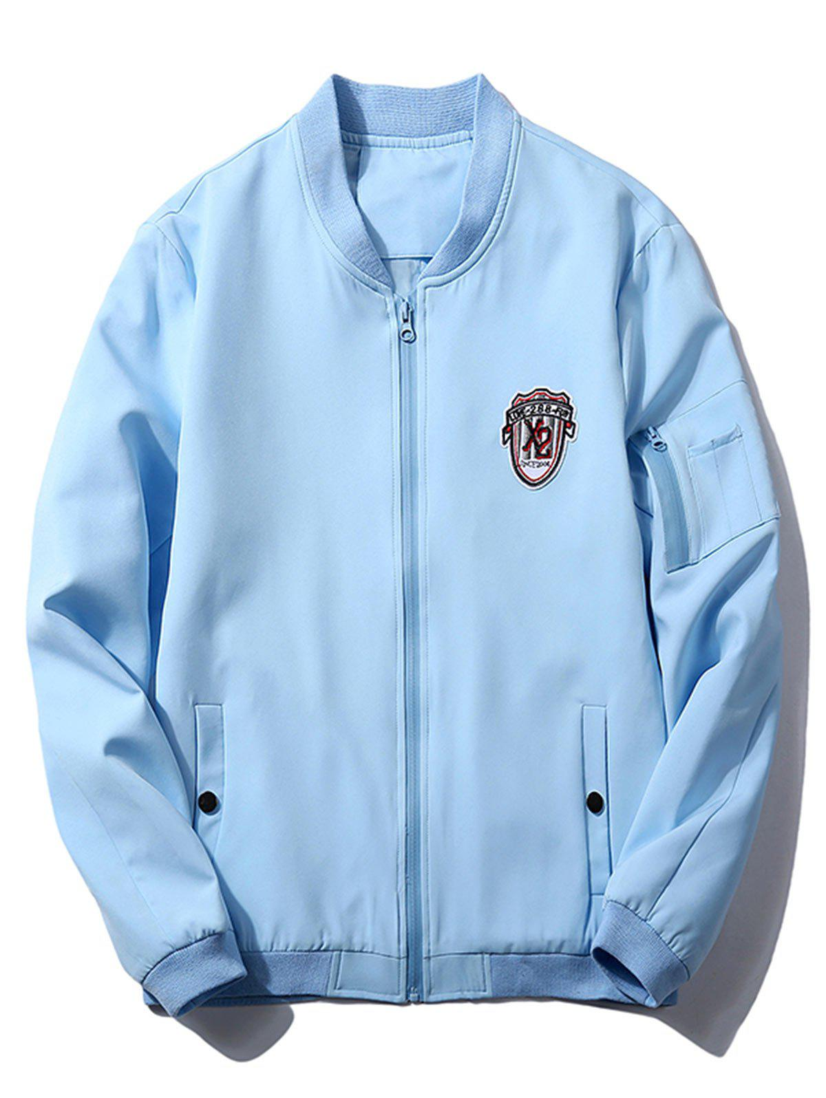Shop Badge Zip Pocket Bomber Jacket