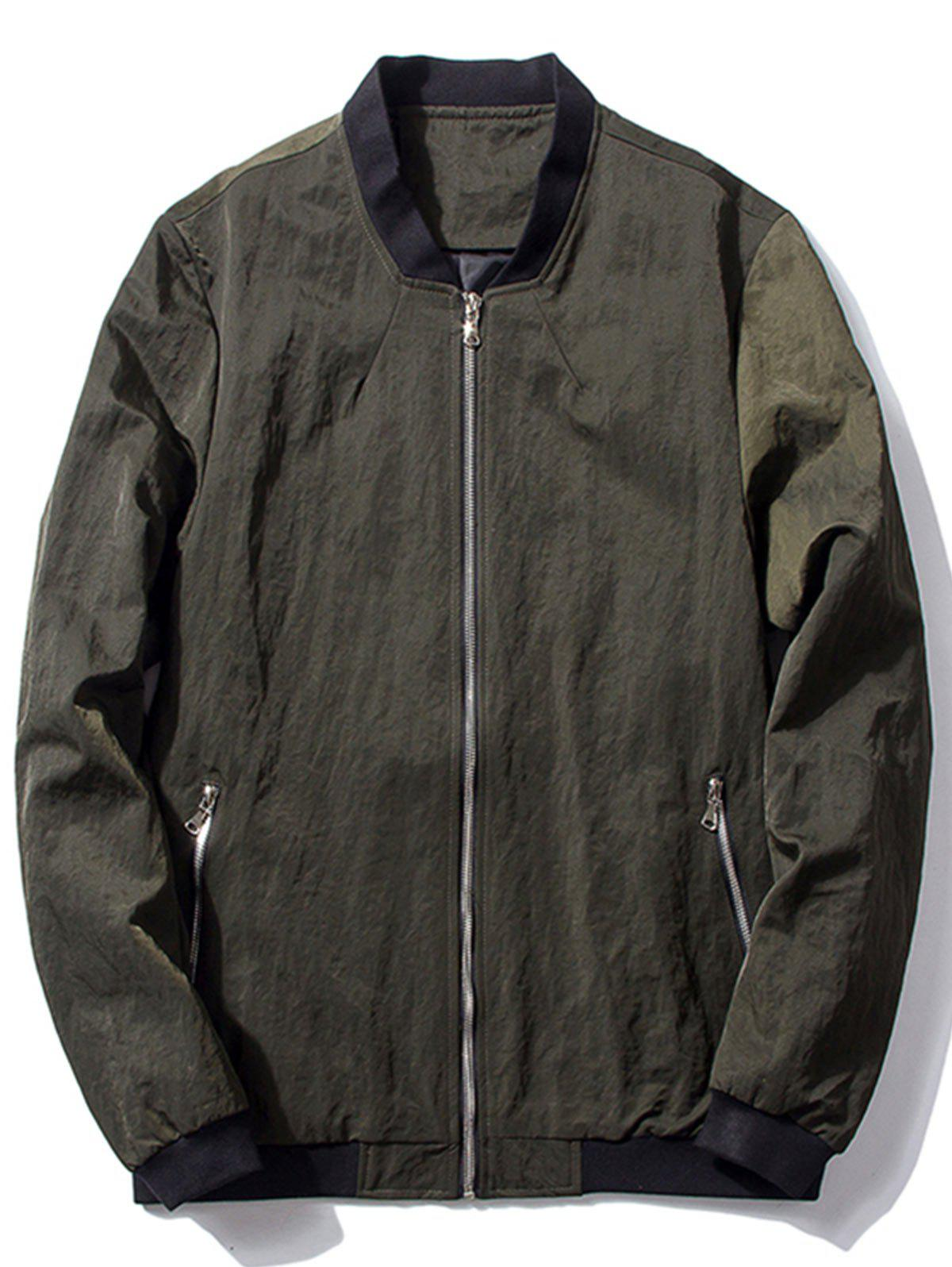 Affordable Zip Pocket Stand Collar Bomber Jacket