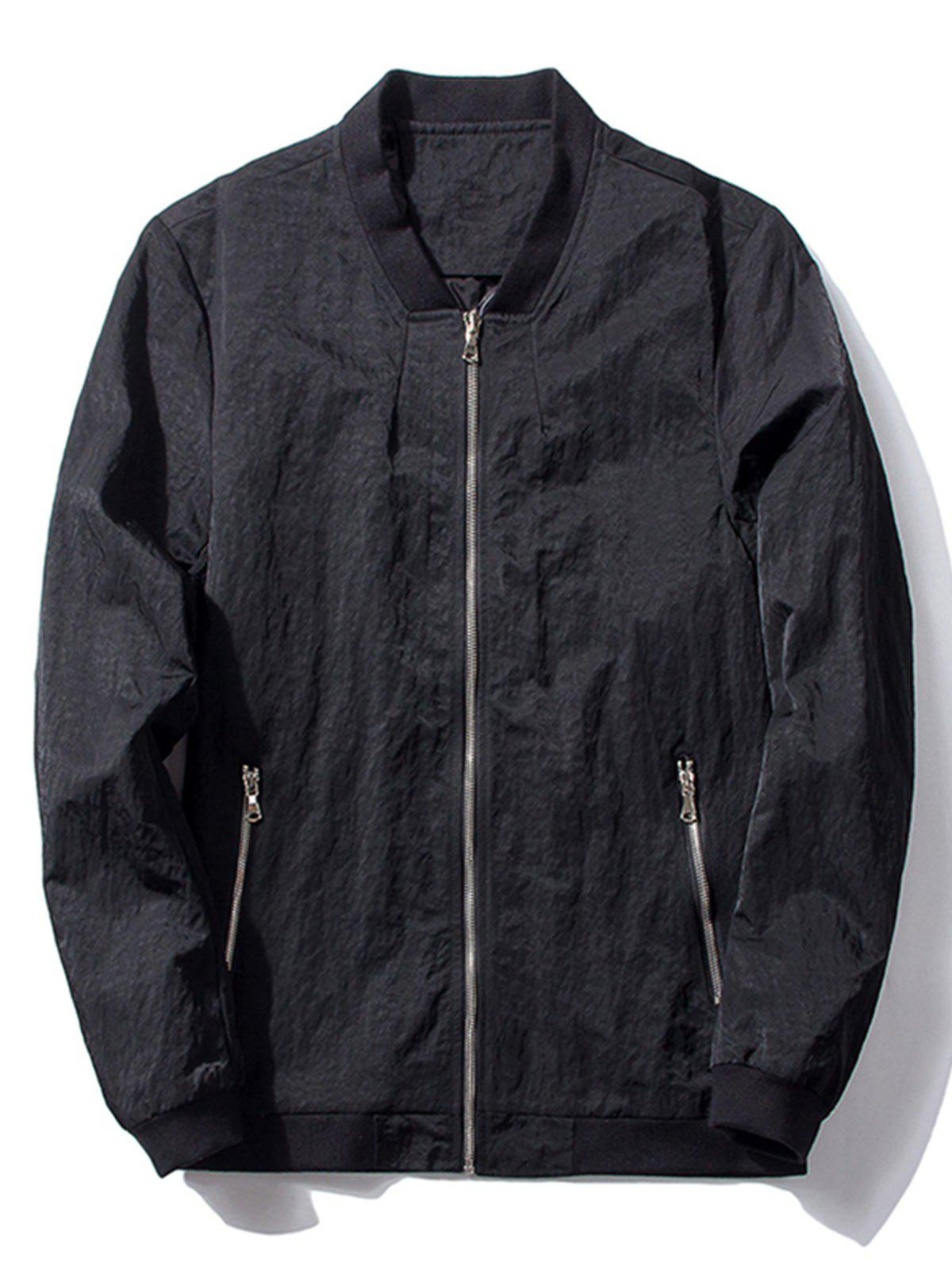 Latest Zip Pocket Stand Collar Bomber Jacket