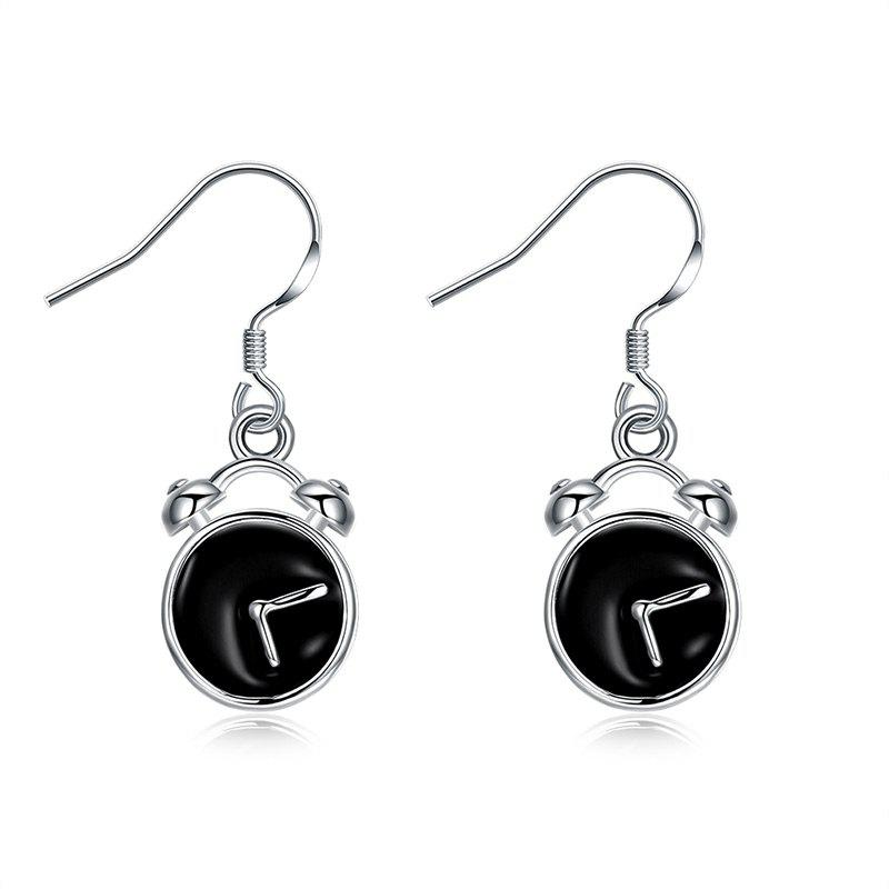 Funny Alloy Clock Fish Hook EarringsJEWELRY<br><br>Color: SILVER; Earring Type: Drop Earrings; Gender: For Women; Style: Trendy; Shape/Pattern: Round; Length: 2.8CM; Weight: 0.0300kg; Package Contents: 1 x Earring (Pair);