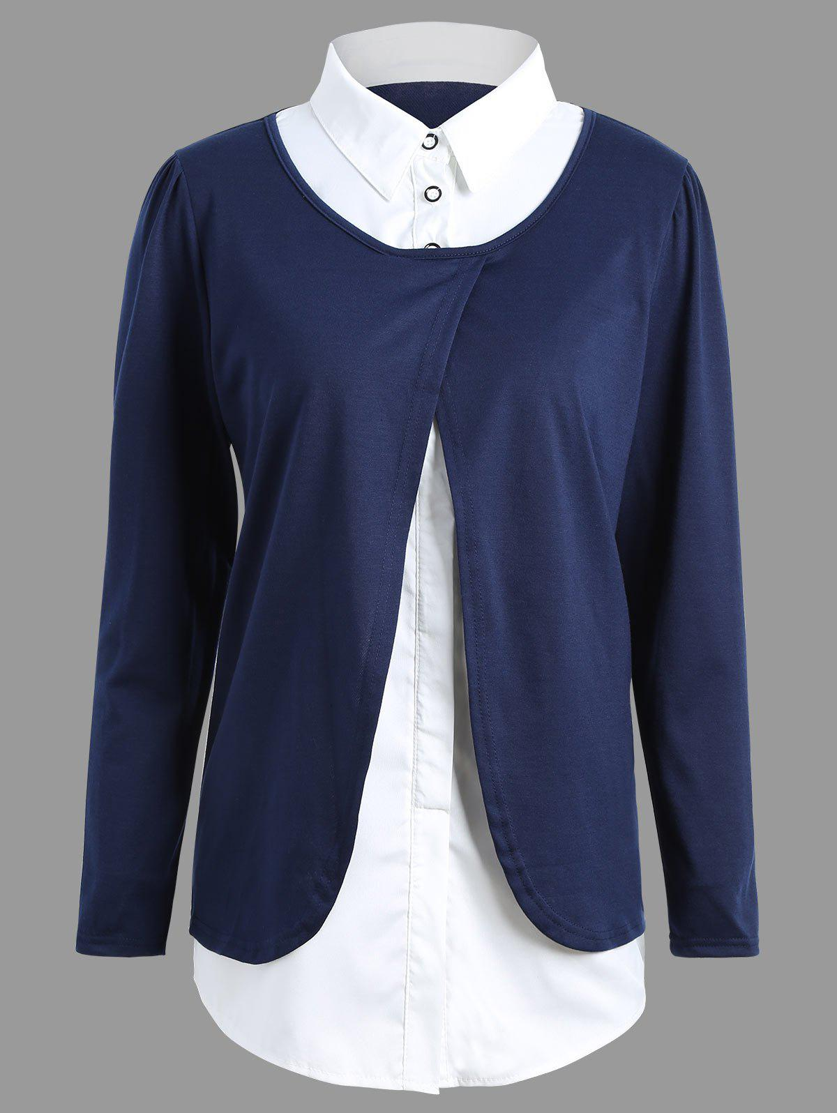 Plus Size Overlay Slit BlouseWOMEN<br><br>Size: 4XL; Color: BLUE; Material: Cotton,Polyester; Shirt Length: Regular; Sleeve Length: Full; Collar: Shirt Collar; Style: Fashion; Season: Fall; Pattern Type: Others; Weight: 0.3300kg; Package Contents: 1 x Blouse;