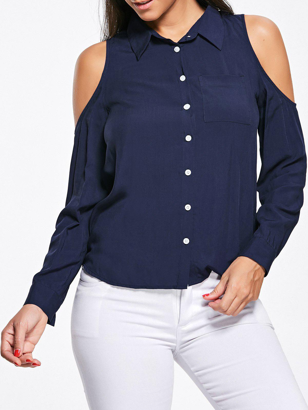 Online Pocket High Low Cold Shoulder Shirt