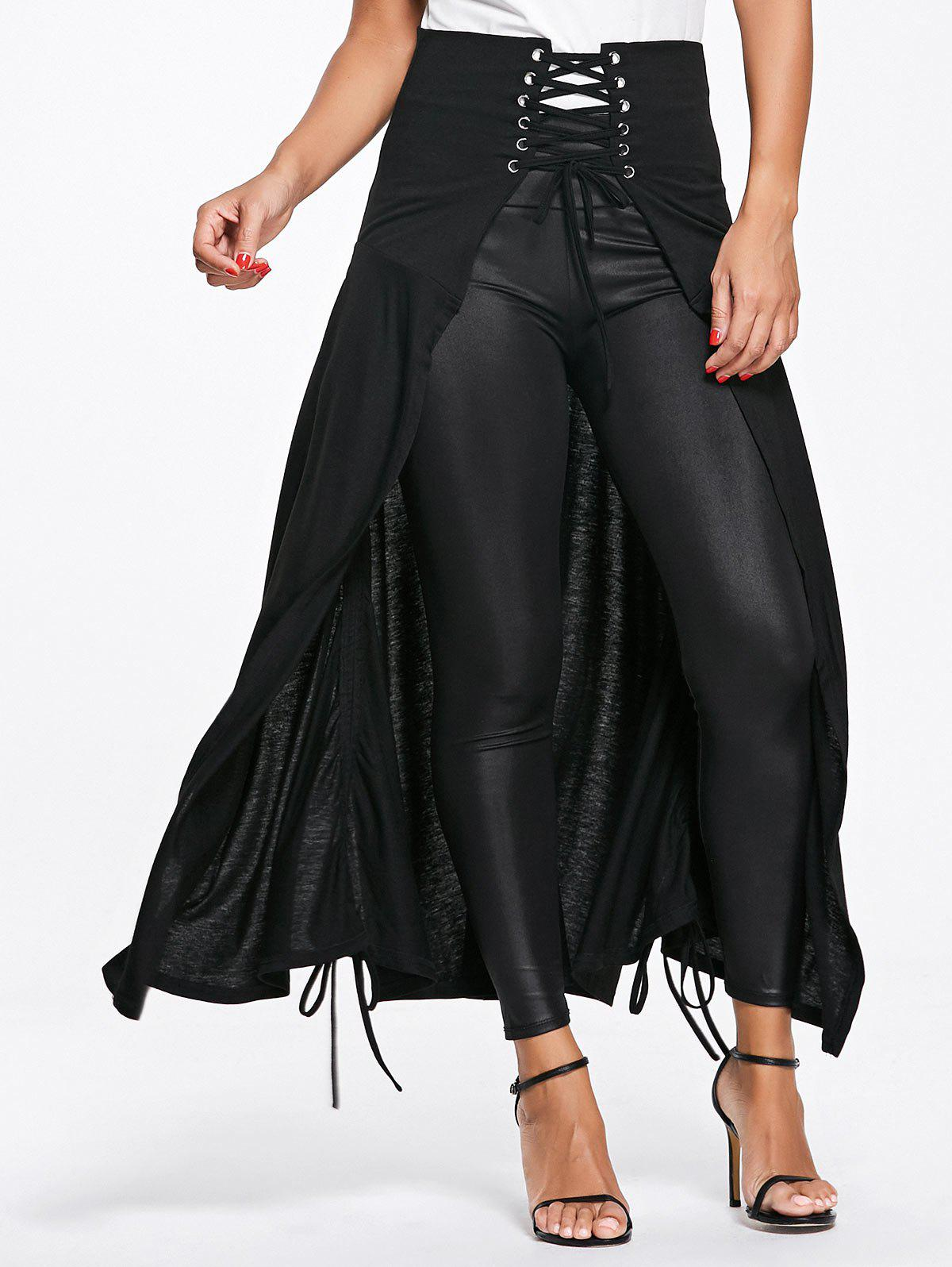 New Front Slit Lace Up High Waisted Maxi Skirt