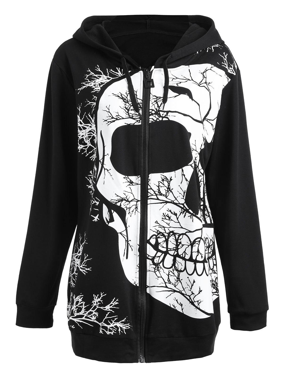 Zip Plus Size Skull Halloween HoodieWOMEN<br><br>Size: XL; Color: BLACK; Material: Cotton Blend,Polyester; Shirt Length: Long; Sleeve Length: Full; Style: Fashion; Pattern Style: Plant,Print,Skulls; Season: Fall,Winter; Weight: 0.5200kg; Package Contents: 1 x Hoodie;