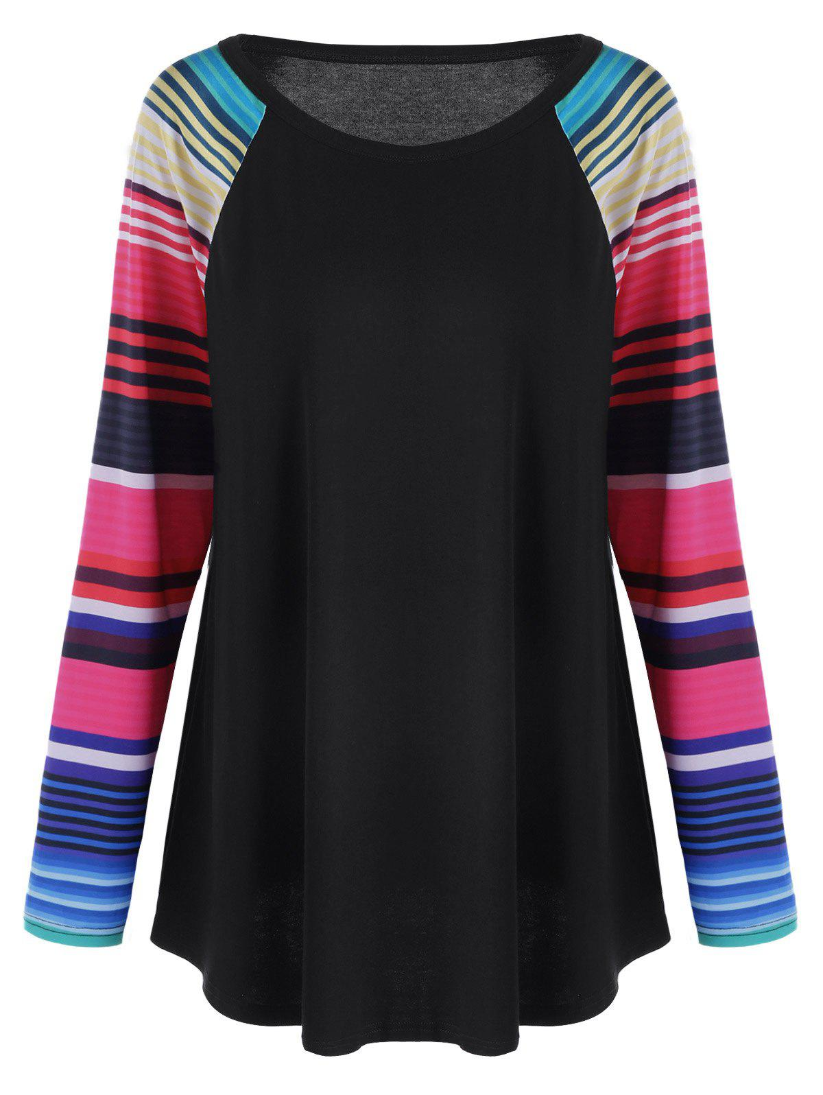 Plus Size Striped Raglan Sleeves TopWOMEN<br><br>Size: XL; Color: STRIPE; Material: Cotton,Polyester; Shirt Length: Regular; Sleeve Length: Full; Collar: Round Neck; Style: Casual; Season: Fall,Spring; Sleeve Type: Raglan Sleeve; Pattern Type: Striped; Weight: 0.3000kg; Package Contents: 1 x T-shirt;