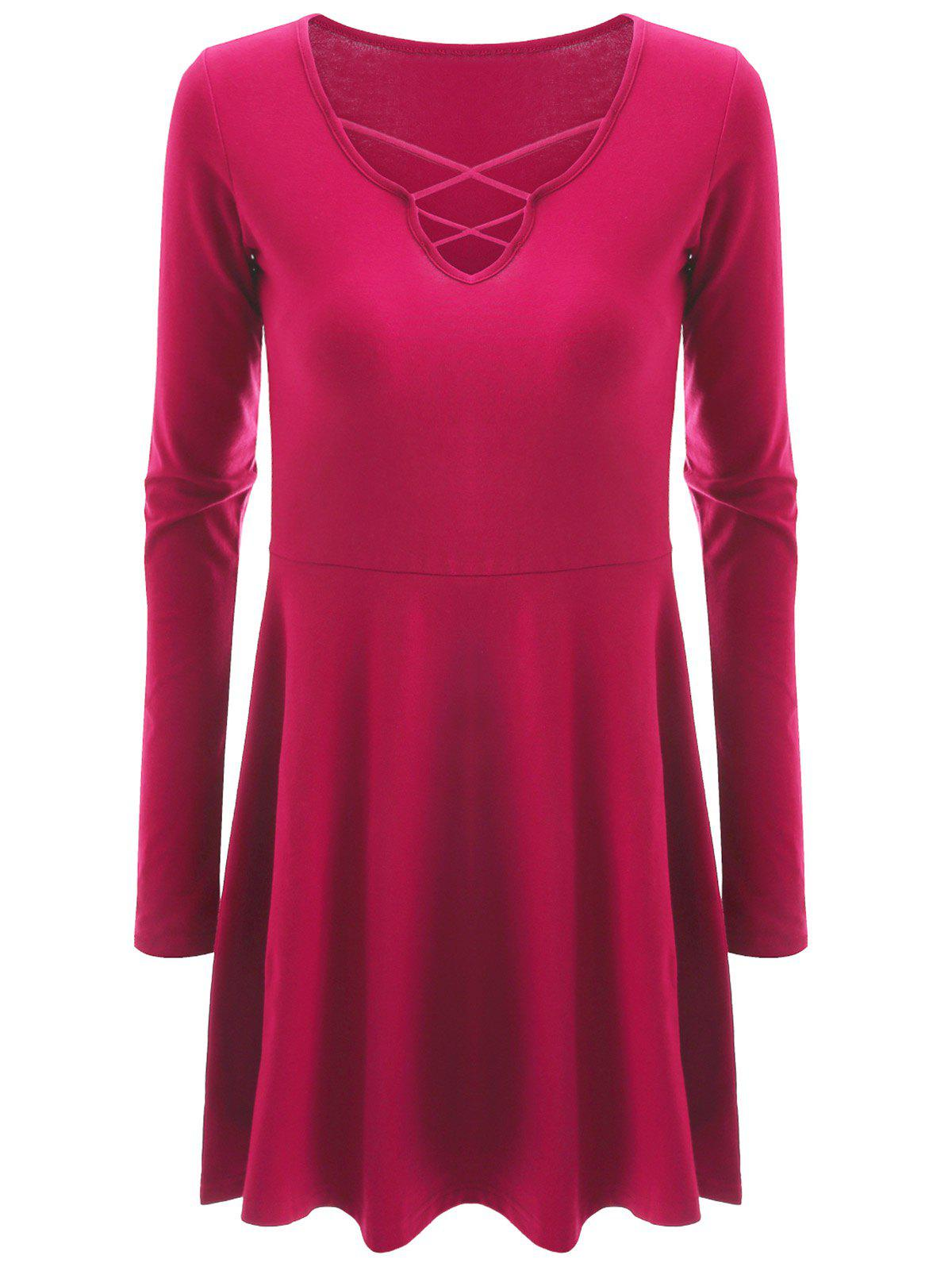 Affordable Criss Cross Plus Size Skirted Tee
