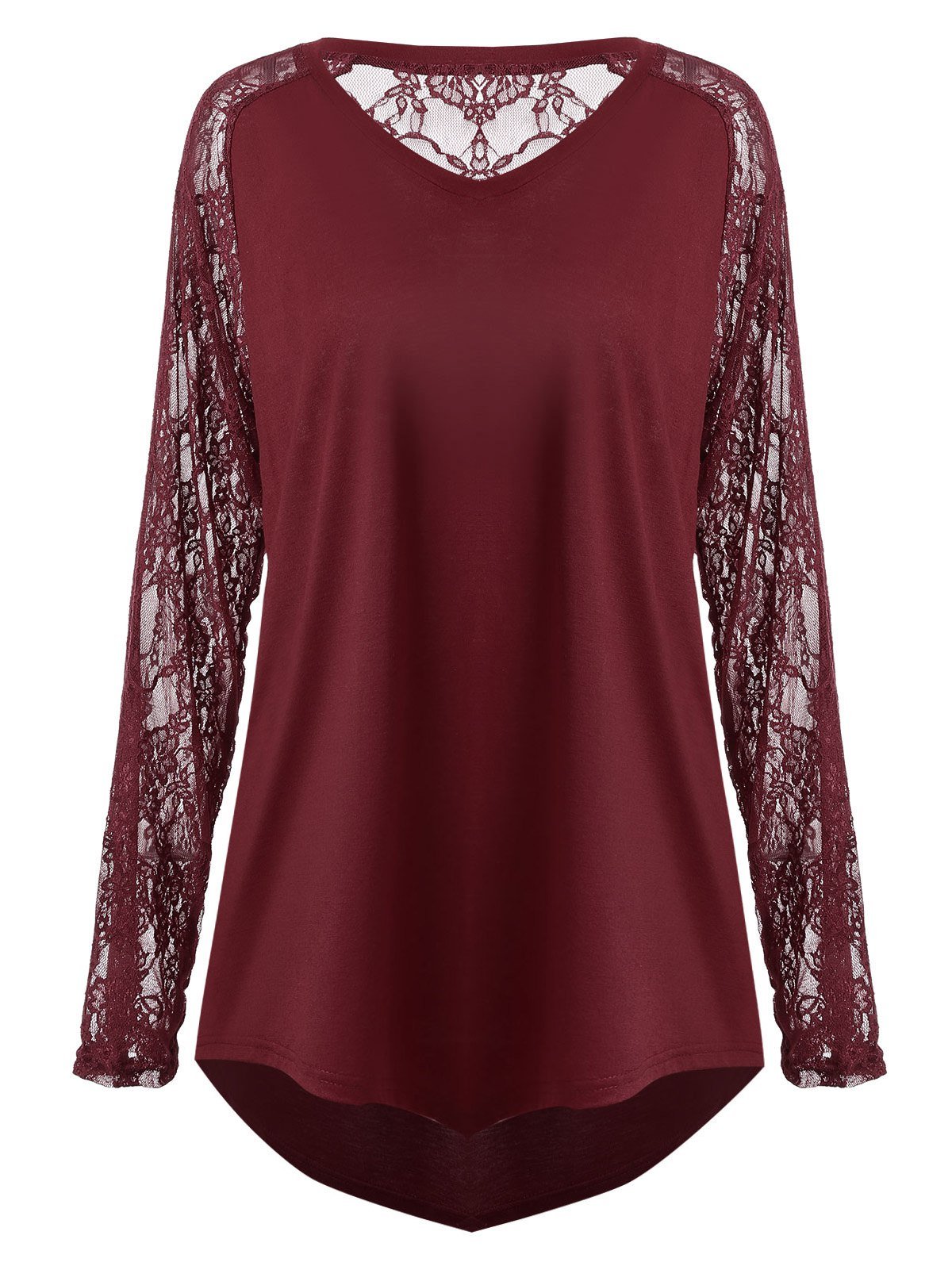 Discount Plus Size Sheer Lace Panel Asymmetric T-shirt