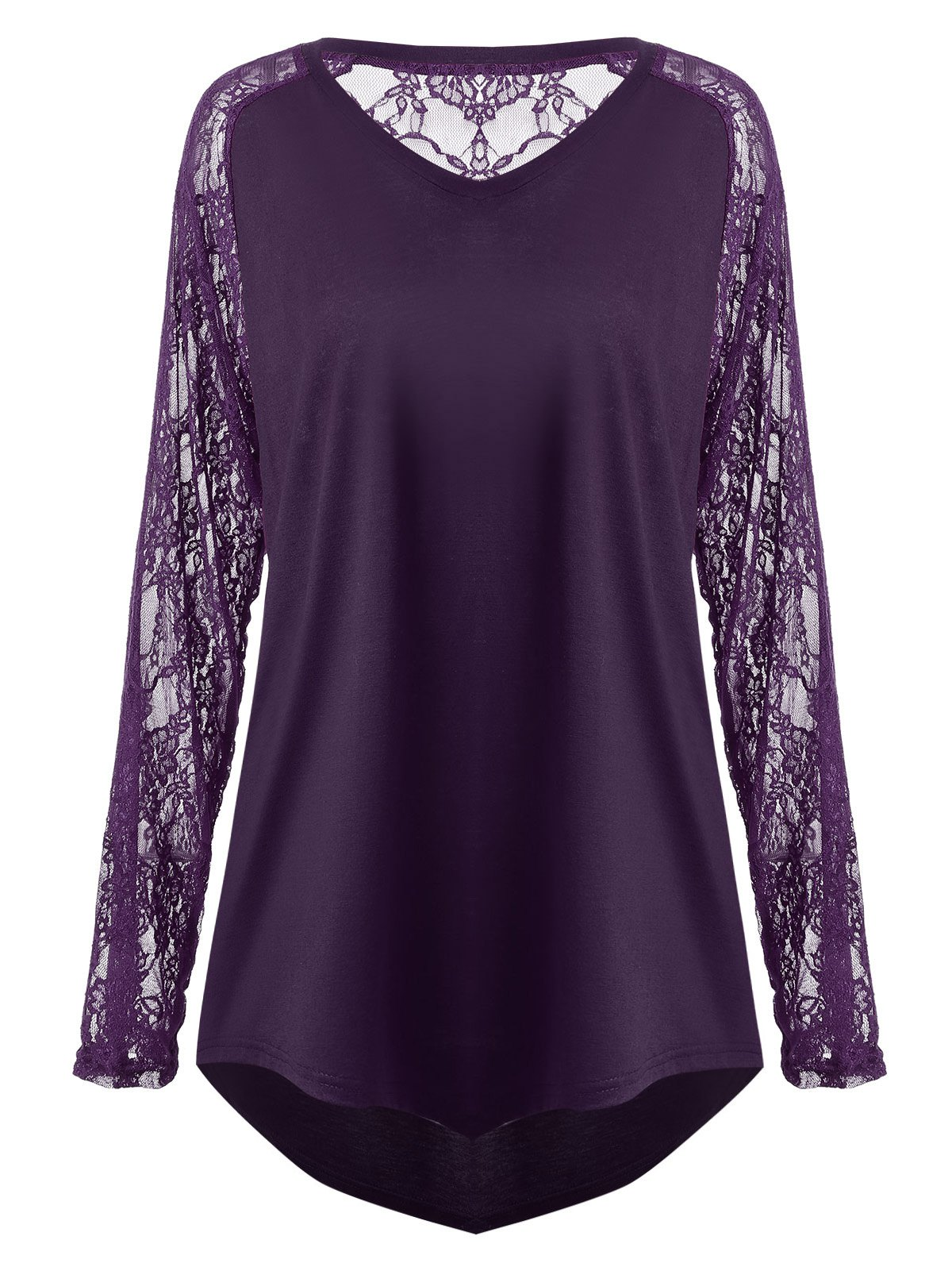 Plus Size Sheer Lace Panel Asymmetric T-shirtWOMEN<br><br>Size: 5XL; Color: DEEP PURPLE; Material: Cotton Blends,Polyester; Shirt Length: Long; Sleeve Length: Full; Collar: V-Neck; Style: Casual; Season: Fall,Spring; Embellishment: Hollow Out,Lace,See Thru; Pattern Type: Solid; Weight: 0.2500kg; Package Contents: 1 x Tee;