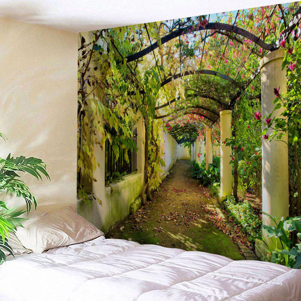 Flower Pergola Gallery Print Wall Art TapestryHOME<br><br>Size: W91 INCH * L71 INCH; Color: COLORMIX; Style: Natural; Theme: Florals,Landscape; Material: Polyester; Feature: Removable,Washable; Shape/Pattern: Floral,Print; Weight: 0.3800kg; Package Contents: 1 x Tapestry;