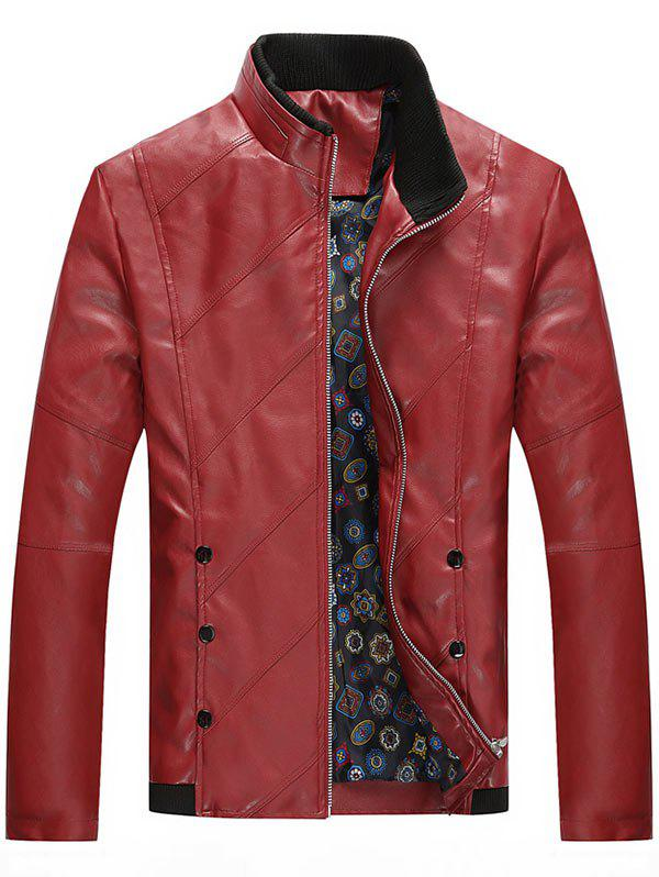 Chic Stand Collar Zip Up Faux Leather Jacket