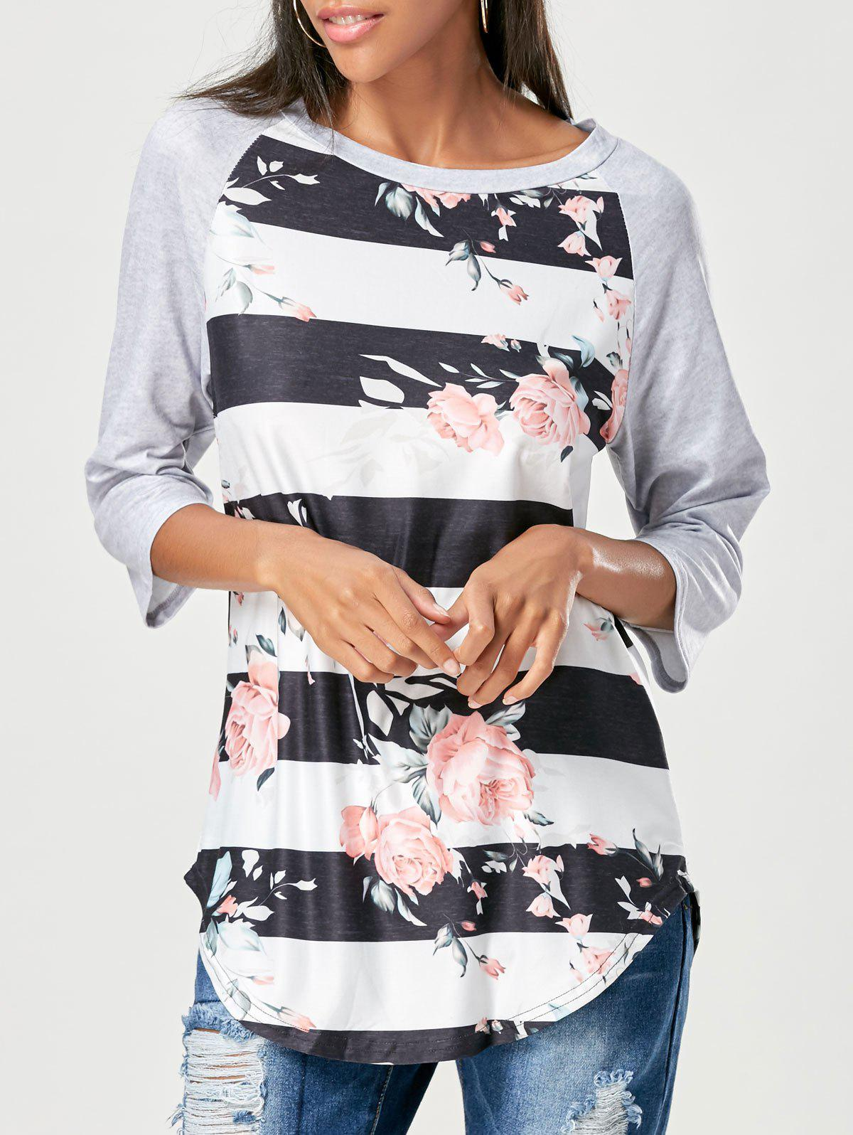 Raglan Sleeve Floral Striped T-shirtWOMEN<br><br>Size: XL; Color: BLACK; Material: Polyester; Shirt Length: Regular; Sleeve Length: Three Quarter; Collar: Round Neck; Style: Fashion; Season: Fall,Spring; Pattern Type: Floral,Striped; Weight: 0.2200kg; Package Contents: 1 x T-shirt;