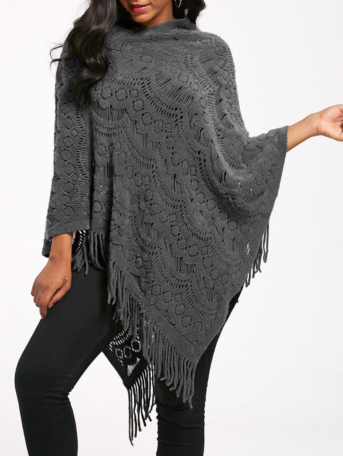 New Fringed Asymmetrical Crochet Knit Poncho