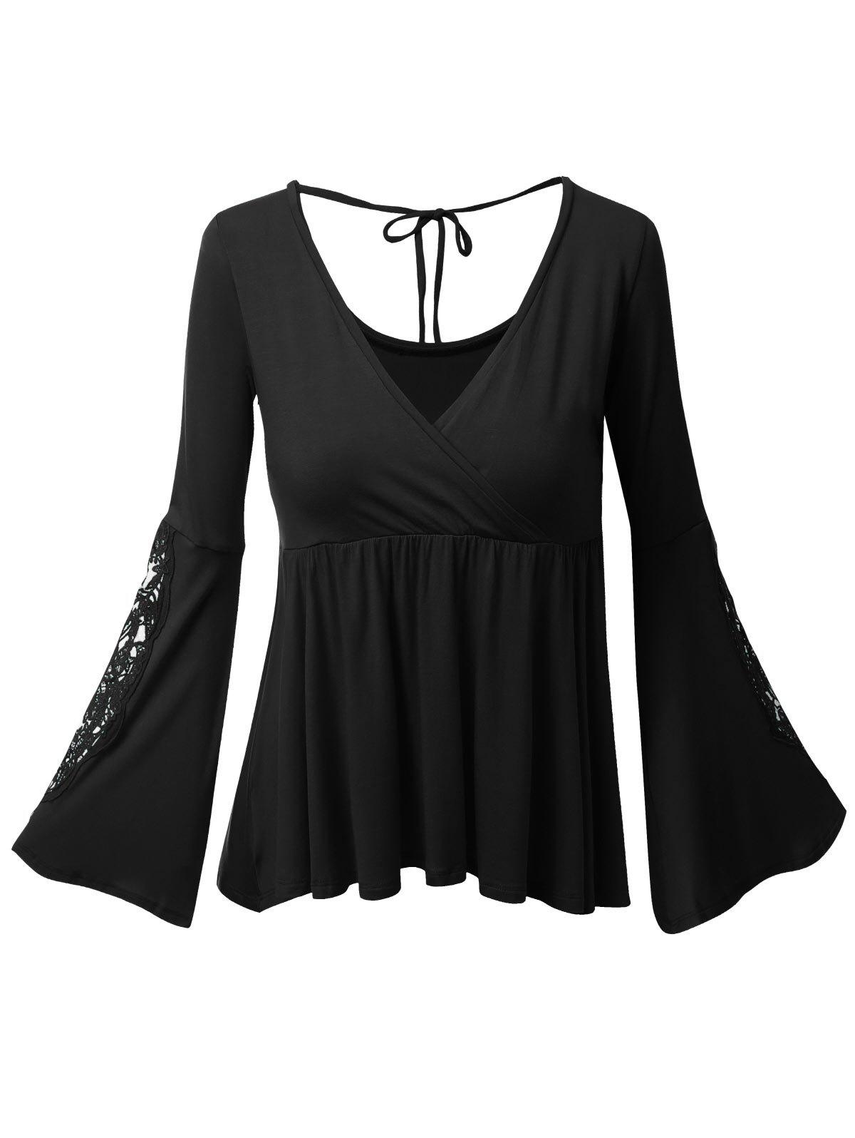 Hot Plus Size Bell Sleeve Surplice Lace Panel Tee