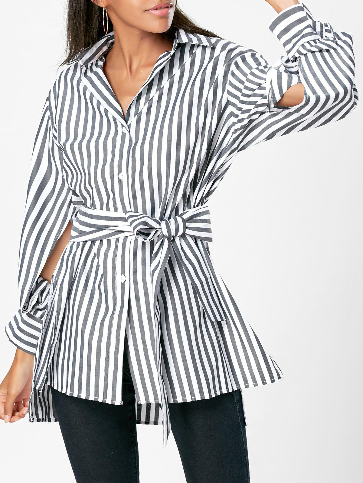 High Low Slit Striped Belted ShirtWOMEN<br><br>Size: M; Color: STRIPE; Occasion: Casual; Style: Fashion; Material: Cotton,Polyester; Shirt Length: Long; Sleeve Length: Full; Collar: Shirt Collar; Pattern Type: Striped; Season: Fall,Spring; Weight: 0.2900kg; Package Contents: 1 x Shirt  1 x Belt;