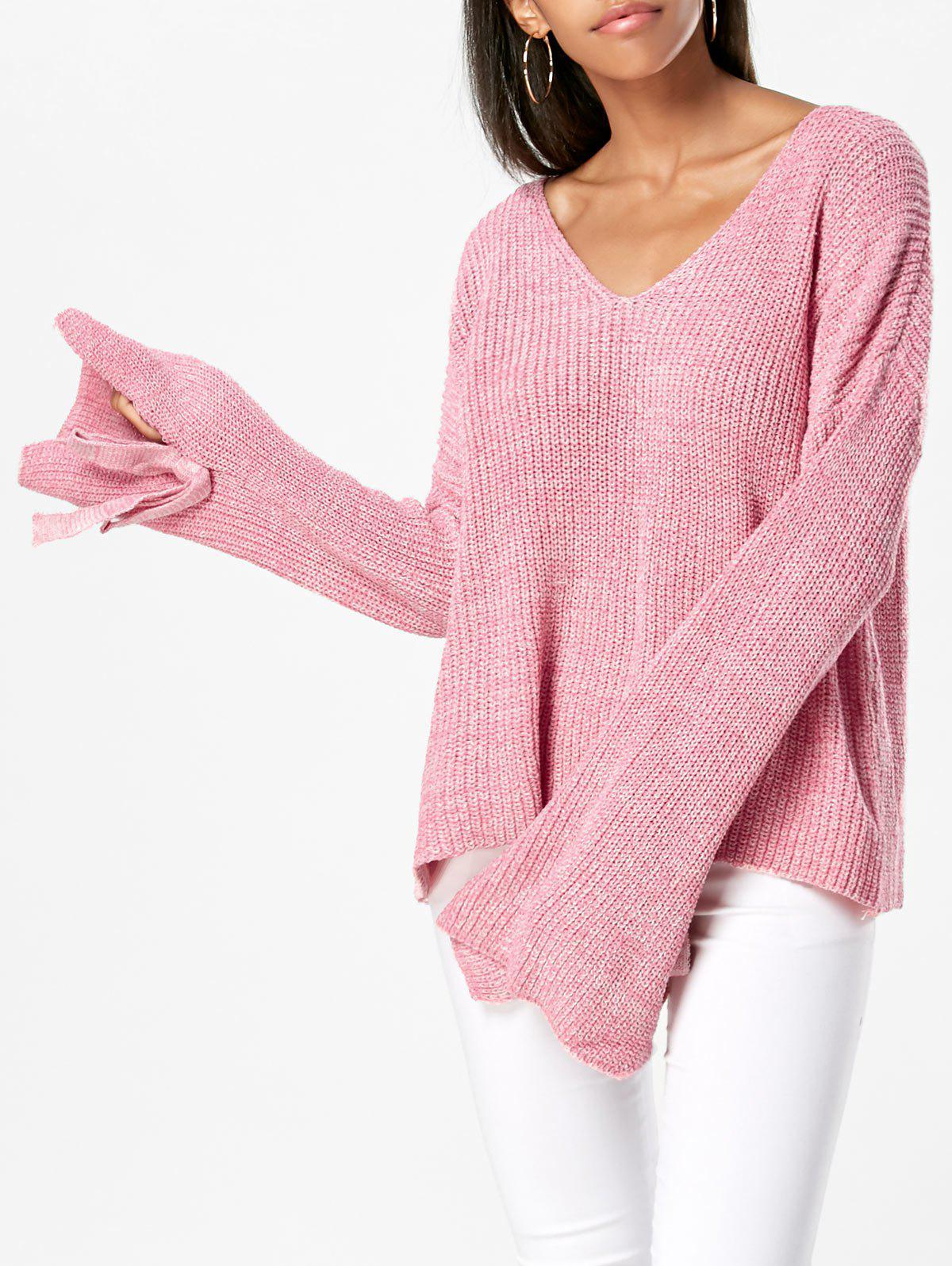 Hot Drop Shoulder V Neck Tied Sleeve Sweater