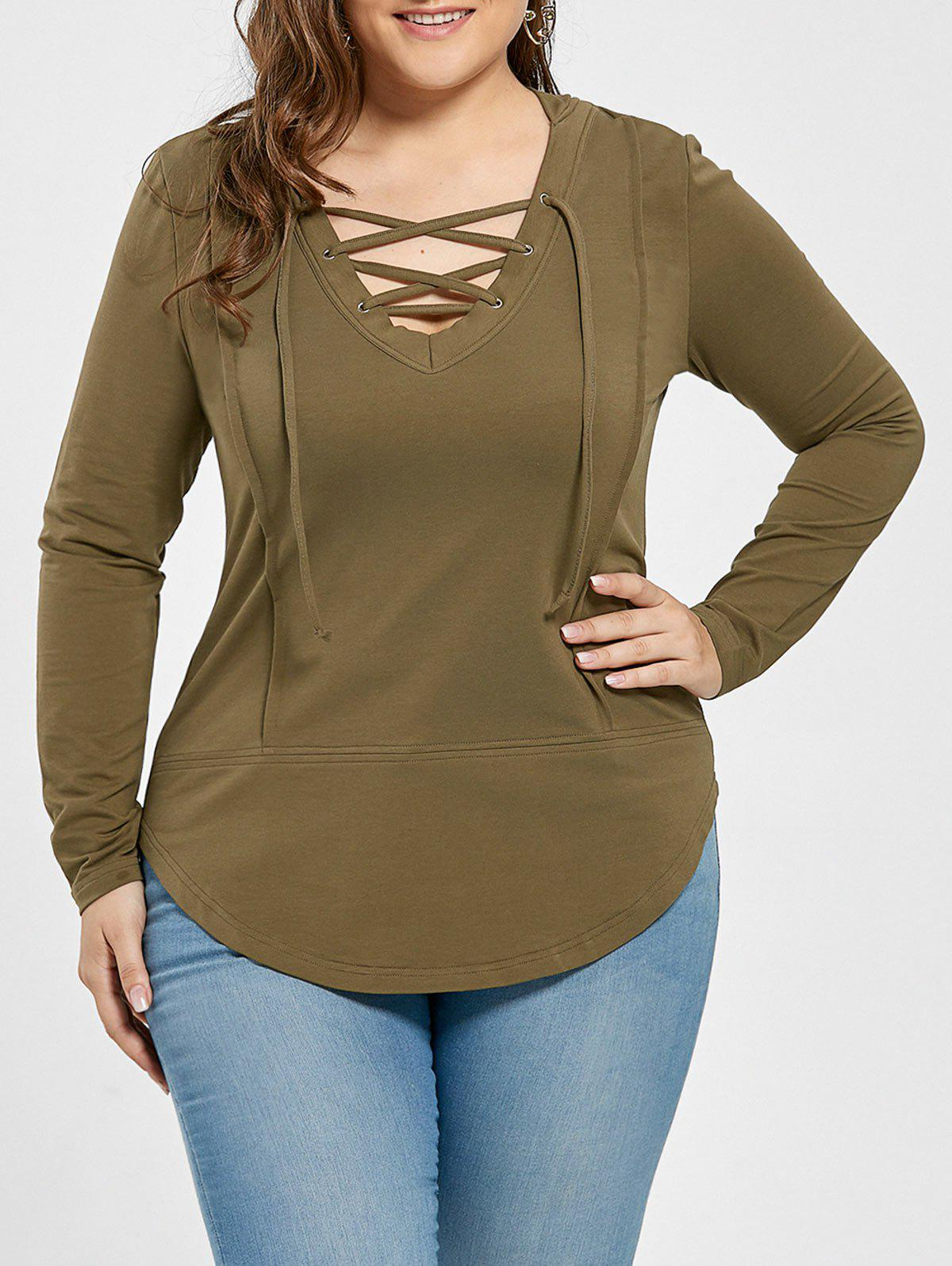 Plus Size Asymmetrical Lace Up HoodieWOMEN<br><br>Size: 3XL; Color: GREEN GREY; Material: Cotton,Polyester; Shirt Length: Regular; Sleeve Length: Full; Style: Fashion; Pattern Style: Solid; Embellishment: Criss-Cross; Season: Fall; Weight: 0.3200kg; Package Contents: 1 x Hoodie;