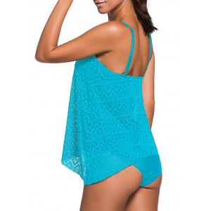 Crochet Openwork Cami Tankini Set - LAKE BLUE 2XL