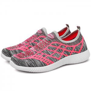 Breathable Geometric Pattern Athletic Shoes - GRAY 39