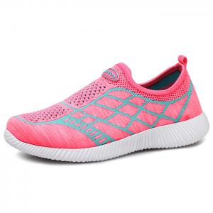 Breathable Geometric Pattern Athletic Shoes - PINK 40