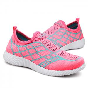 Breathable Geometric Pattern Athletic Shoes - PINK 38
