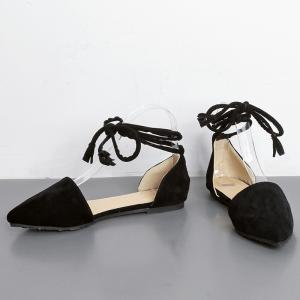 Suede Pointed Toe Tie Leg Flat Shoes - BLACK 37