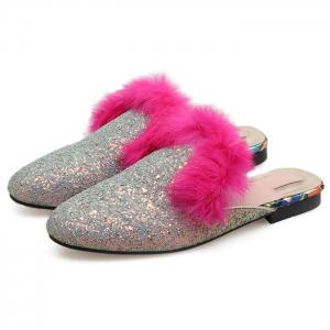 Sequined Mules with Faux Fur Trim - SILVER 38