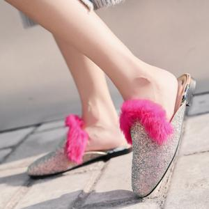 Sequined Mules with Faux Fur Trim - SILVER 39